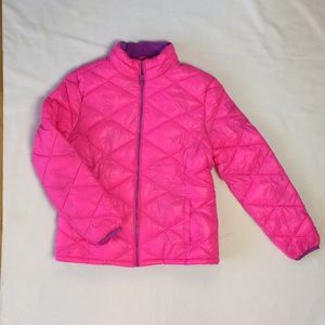 Justice Girls Neon Pink Quilted Jacket